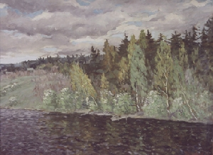 picture Birch trees above the river