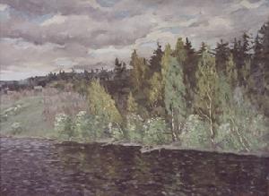картина Берёзы над рекой