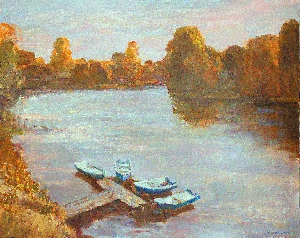 картина Утро на реке Мста